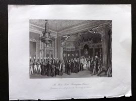 London Interiors 1841 Antique Print. The Throne Room, Buckingham Palace